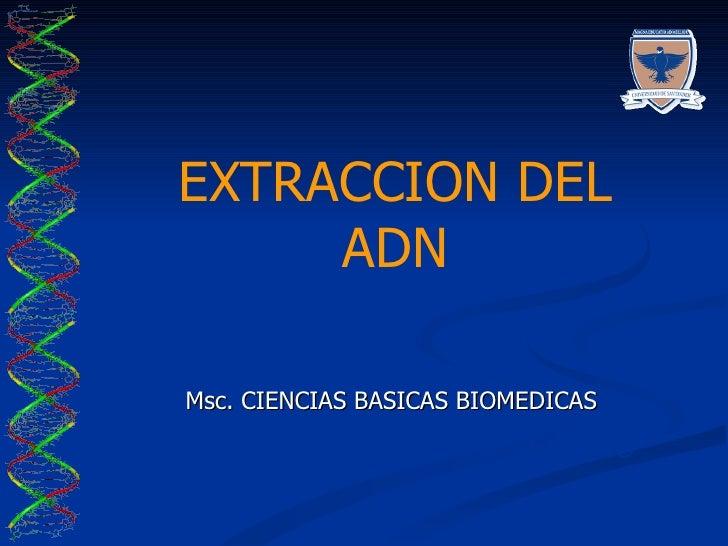 EXTRACCION DEL ADN Msc. CIENCIAS BASICAS BIOMEDICAS LABORATORIO DE BIOCIENCIAS