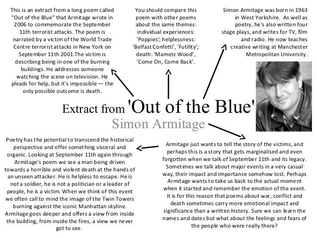 out of the blue by simon armitage essay 'out of the blue' by simon armitage - a critical analysis kindle edition  this item: 'out of the blue' by simon armitage - a critical analysis set up a giveaway.