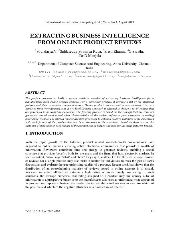EXTRACTING BUSINESS INTELLIGENCE FROM ONLINE PRODUCT REVIEWS