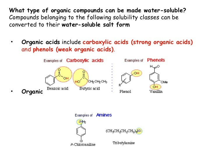 solubility of organic compounds Similar arguments can be made to rationalize the solubility of different organic compounds in nonpolar or slightly polar solvents in general, the greater the content of charged and polar groups in a molecule, the less soluble it.