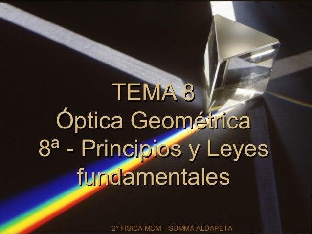 TEMA 8TEMA 8 Óptica GeométricaÓptica Geométrica 8ª - Principios y Leyes8ª - Principios y Leyes fundamentalesfundamentales ...