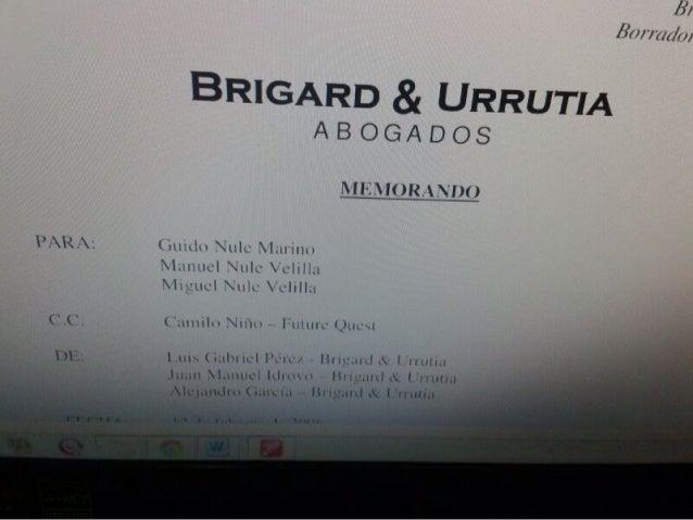 Extracto asesoria Brigard & Urrutia a los Nule