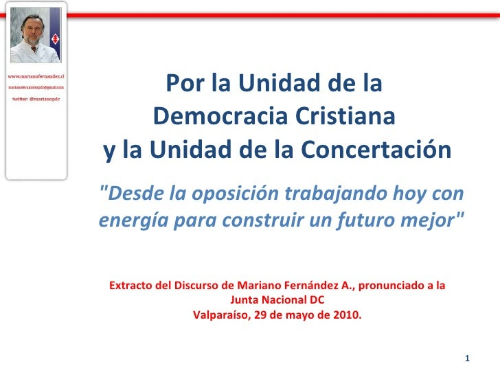 """Por la Unidad de la  Democracia Cristiana  y la Unidad de la Concertación """"Desde la oposición trabajando hoy con ener..."""