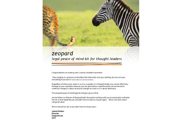 """zeopardlegal peace of mind kit for thought leadersCongratulations on making such a sound, valuable investment.""""Your integr..."""