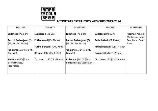 ACTIVITATS EXTRA-ESCOLARS CURS 2013-2014 DILLUNS  DIMARTS  DIMECRES  DIJOUS  Ludoteca (P3 a 2n)  Ludoteca (P3 a 2n)  Ludot...