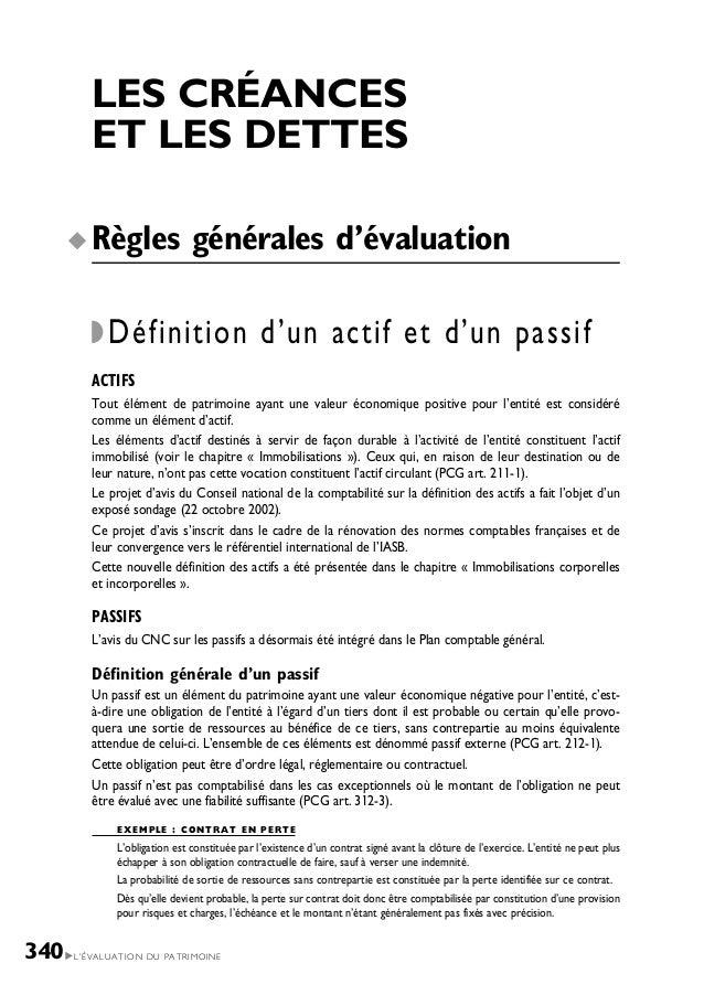 L'ÉVALUATION DU PATRIMOINE340 LES CRÉANCES ET LES DETTES Règles générales d'évaluation Définition d'un actif et d'un passi...