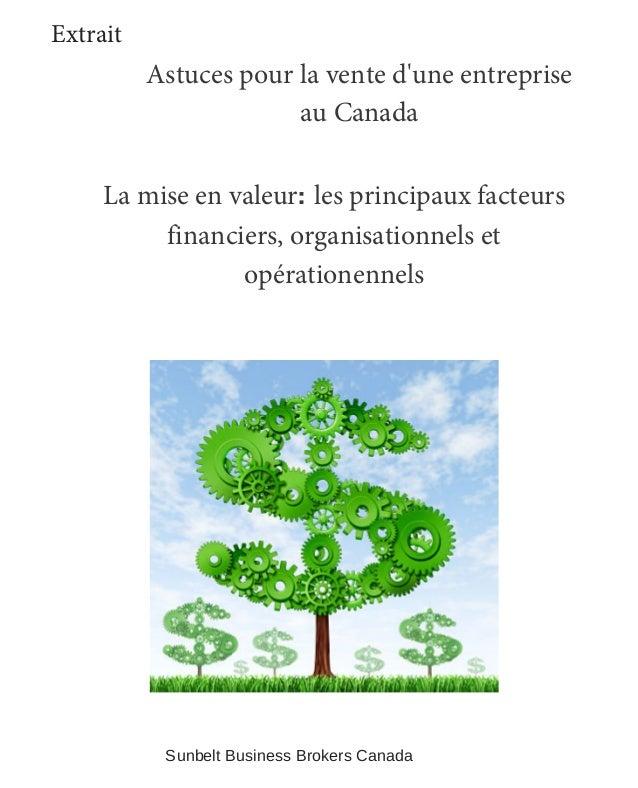 La mise en valeur: les principaux facteurs financiers, organisationnels et opérationennels Astuces pour la vente d'une ent...