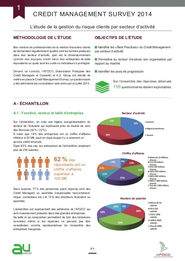 CREDIT MANAGEMENT SURVEY 2014 L'étude de la gestion du risque clients par secteur d'activité P.1 MÉTHODOLOGIE DE L'ÉTUDE B...