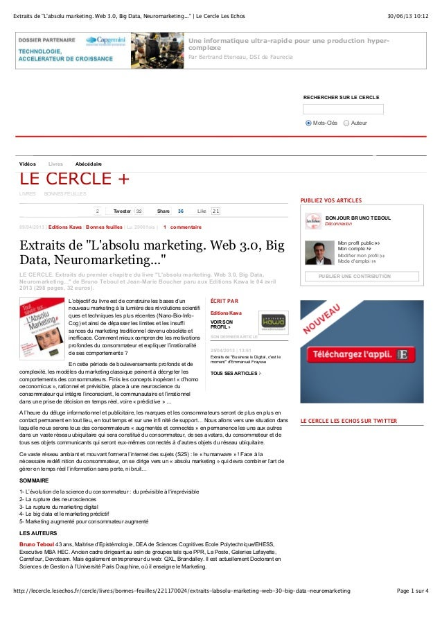 Extraits de l'absolu marketing. web 3.0, big data, neuromarketing...
