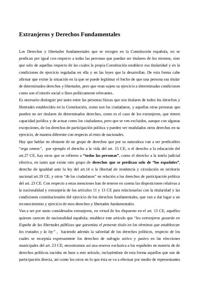 Extranjeros y Derechos Fundamentales Los Derechos y libertades fundamentales que se recogen en la Constitución española, n...