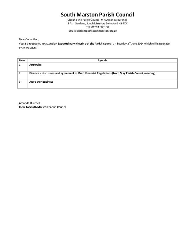 South Marston Parish Council Clerk to the Parish Council: Mrs Amanda Burchell 3 Ash Gardens, South Marston, Swindon SN3 4X...