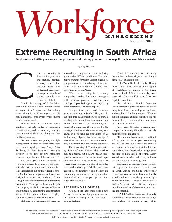 Extreme Recruiting In South Africia