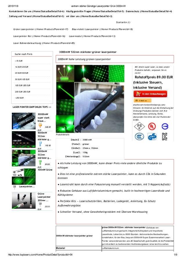 2015/11/9 extremstärkeGünstigeLaserpointerGrün3000mW http://www.buylaserc.com/Home/ProductDetail?productId=54 1/9 Kon...