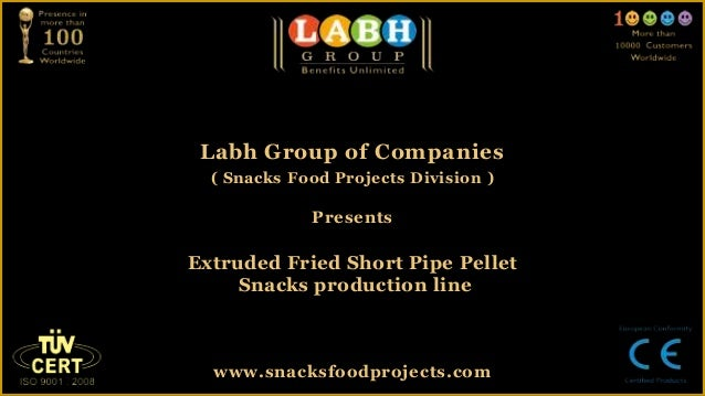 Extruded fried short pipe pellet snacks production line