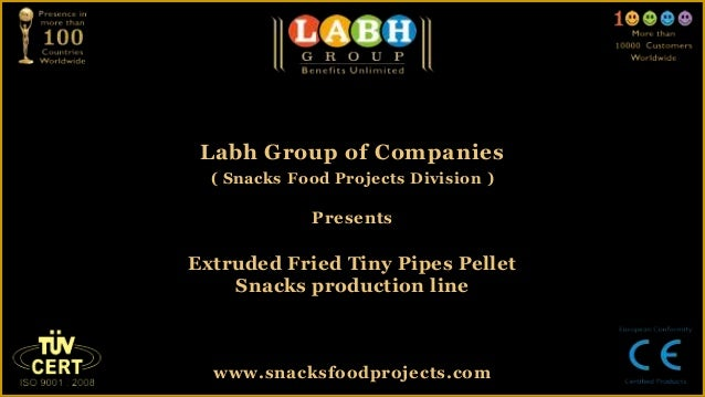 Extruded fried tiny pipes pellet snacks production line