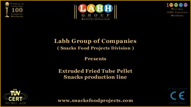 Extruded fried tube pellet snacks production line