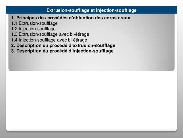 Extrusion-soufflage et injection-soufflage 1. Principes des procédés d'obtention des corps creux 1.1 Extrusion-soufflage 1...