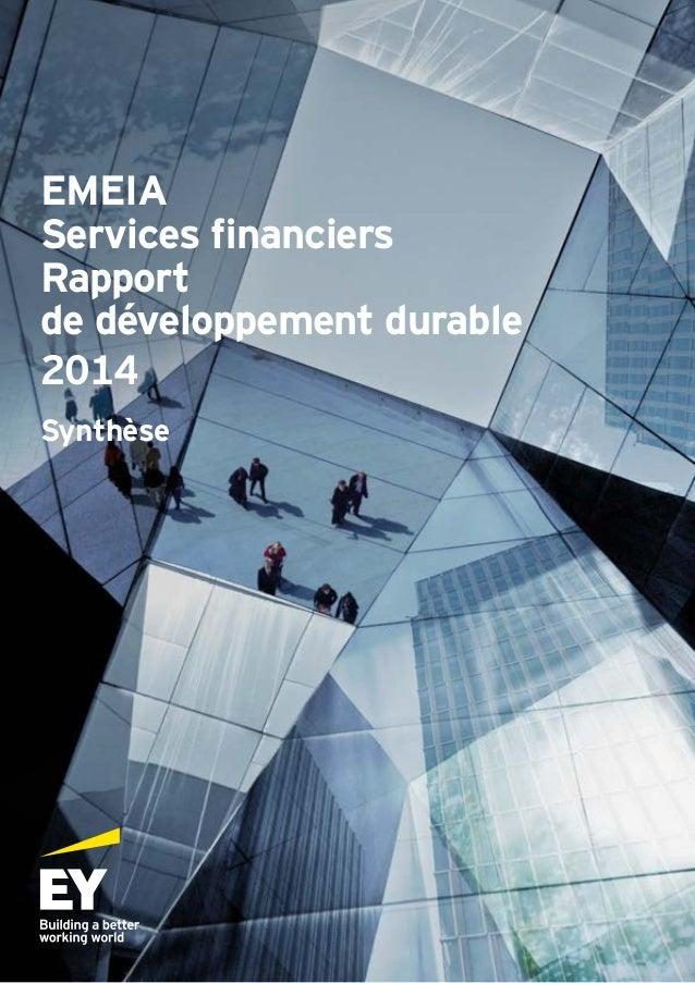 EMEIA Services financiers Rapport de développement durable 2014 Synthèse