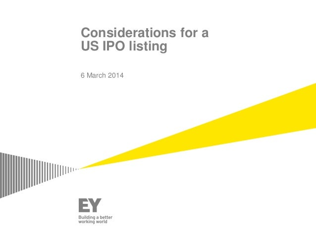 Considerations for a US IPO listing 6 March 2014