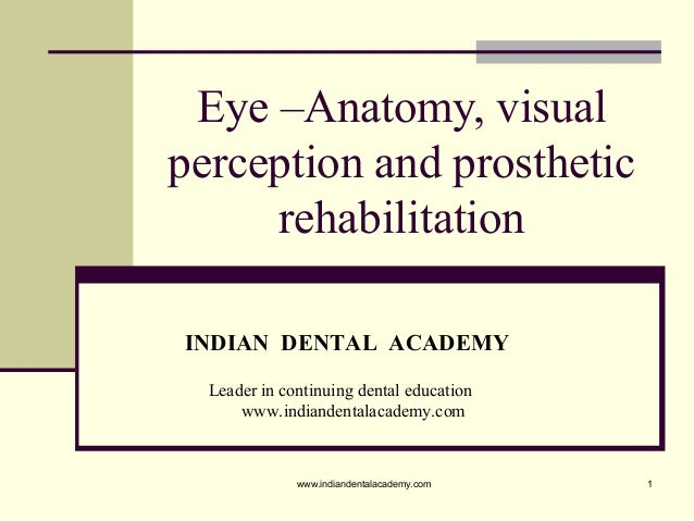 1 Eye –Anatomy, visual perception and prosthetic rehabilitation INDIAN DENTAL ACADEMY Leader in continuing dental educatio...