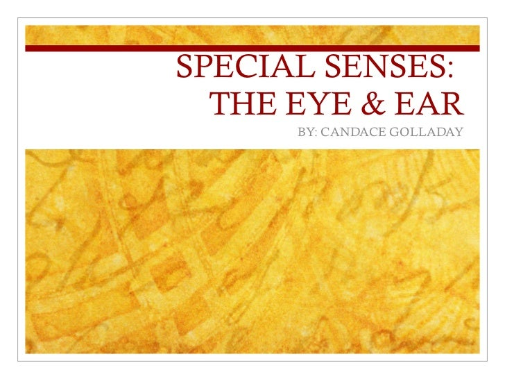 SPECIAL SENSES:  THE EYE & EAR BY: CANDACE GOLLADAY