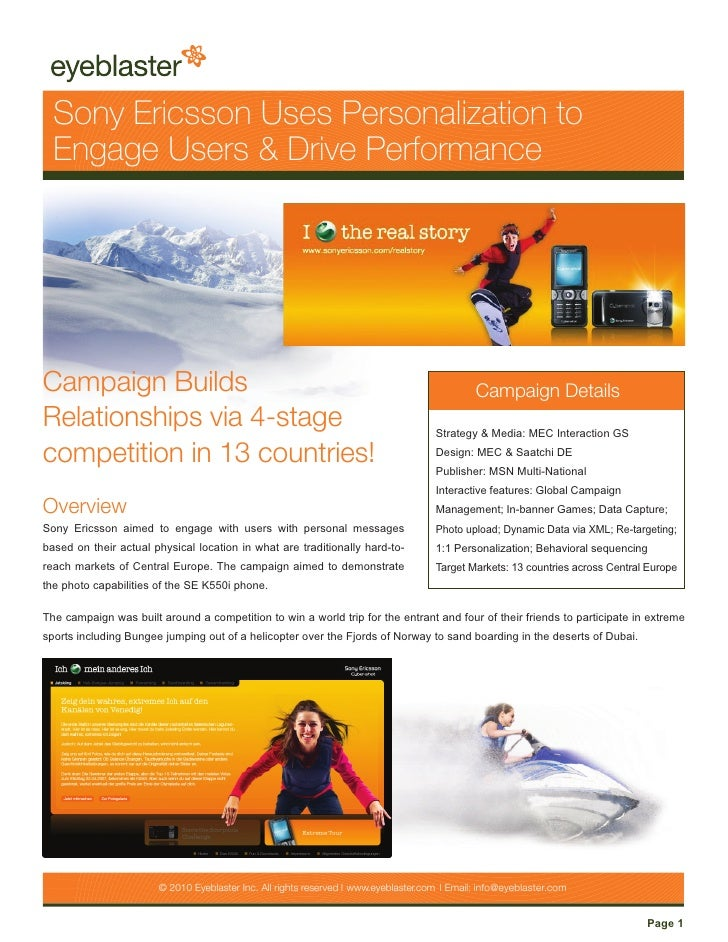 Sony Ericsson Uses Personalization to   Engage Users & Drive Performance     Campaign Builds                              ...