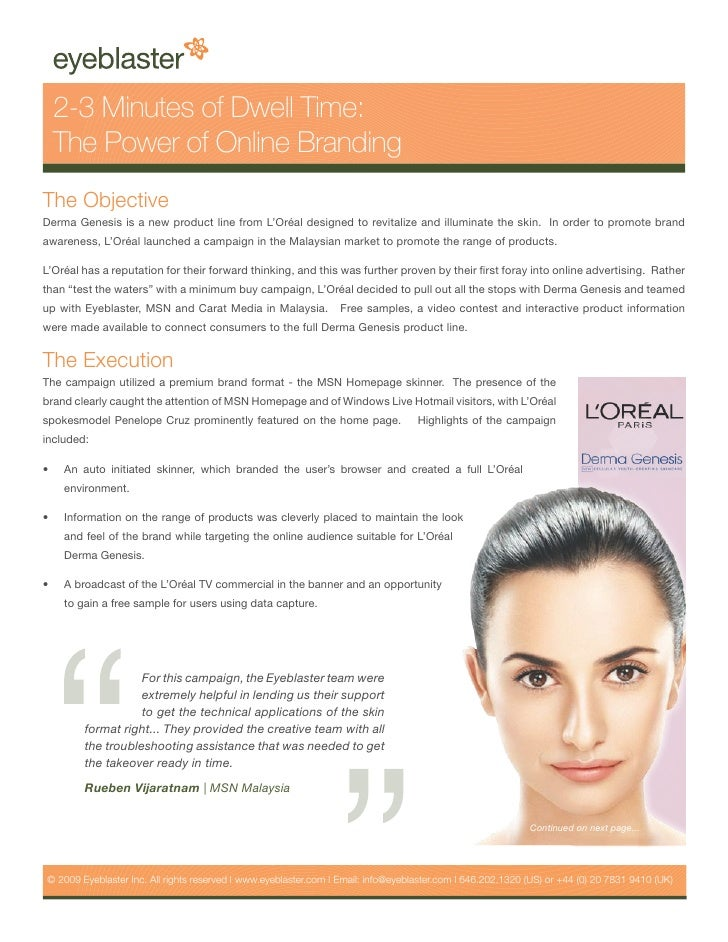 Eyeblaster Case Study – L Oreal Unveils The Power Of Dwell Time