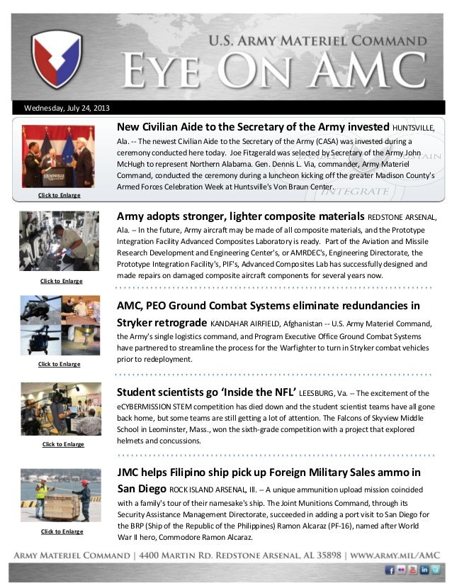 Wednesday, July 24, 2013 Click to Enlarge Click to Enlarge Click to Enlarge Click to Enlarge Army adopts stronger, lighter...