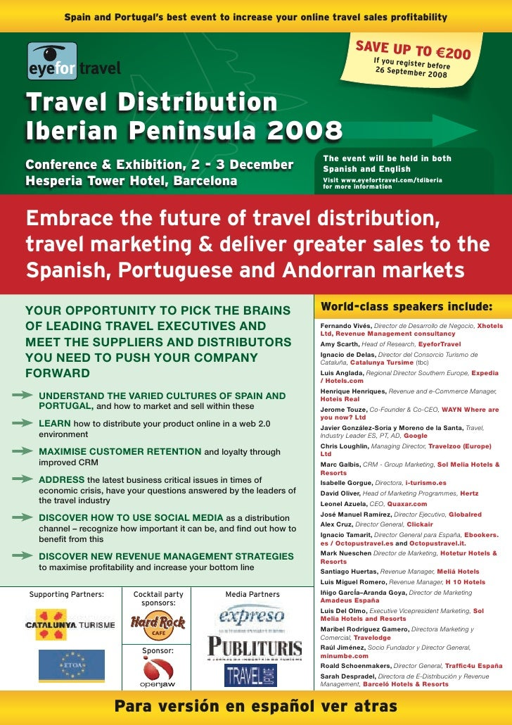 Spain and Portugal's best event to increase your online travel sales profitability                                        ...