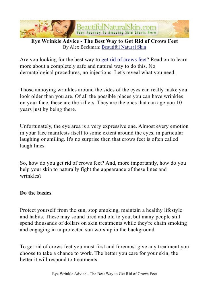 Eye Wrinkle Advice - The Best Way to Get Rid of Crows Feet                       By Alex Beckman: Beautiful Natural Skin  ...
