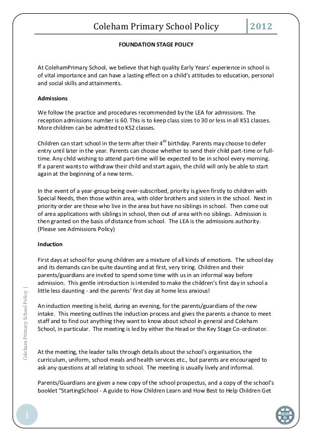 Coleham Primary School Policy                                    2012                                                     ...