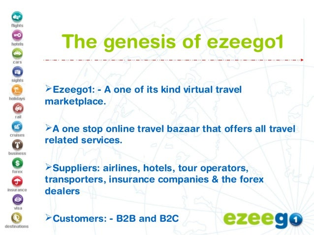 The genesis of ezeego1 Ezeego1: - A one of its kind virtual travel marketplace. A one stop online travel bazaar that off...