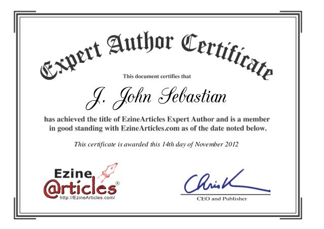 Ezine articles certificate- J John Sebastian Attorney