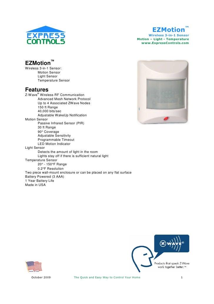 EZMotion™                                                                            Wireless 3-in-1 Sensor               ...