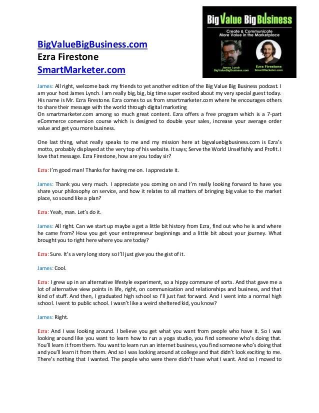 Ezra Firestone – Serve the World Unselfishly and Profit