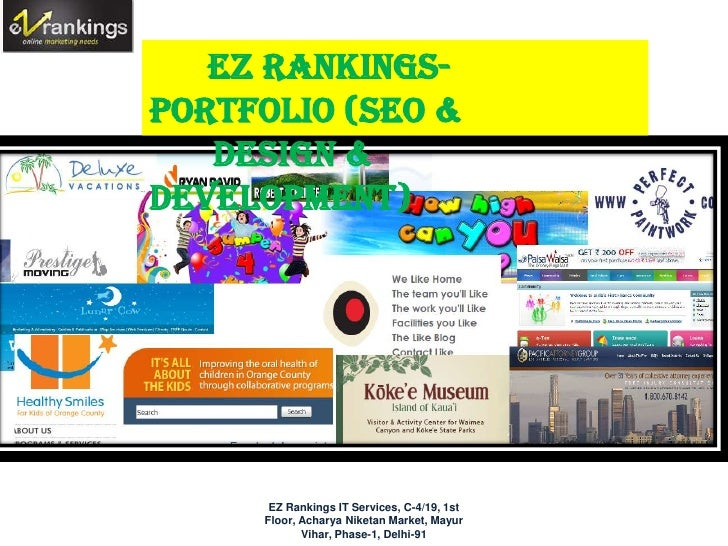 EZ Rankings-Portfolio (SEO &   Design &Development) EZ Rankings Portfolio       EZ Rankings IT Services, C-4/19, 1st      ...