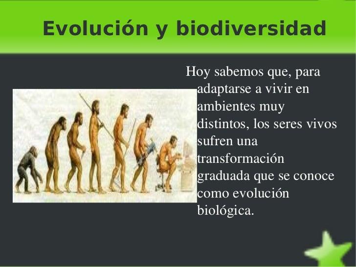 Evolución y biodiversidad <ul><li>Hoy sabemos que, para adaptarse a vivir en ambientes muy distintos, los seres vivos sufr...
