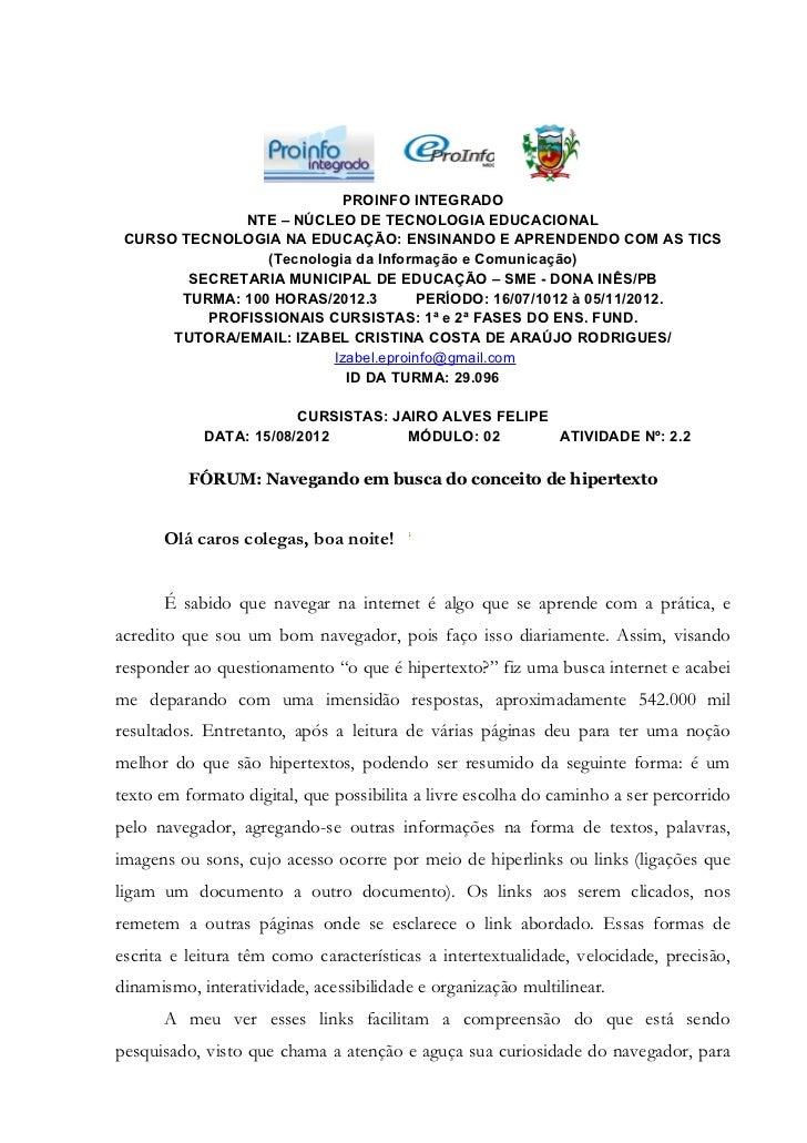 FÓRUM: NAVEGANDO EM BUSCA DO CONCEITO DE HIPERTEXTO