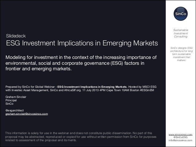 !1 Slidedeck ESG Investment Implications in Emerging Markets Modeling for investment in the context of the increasing impo...