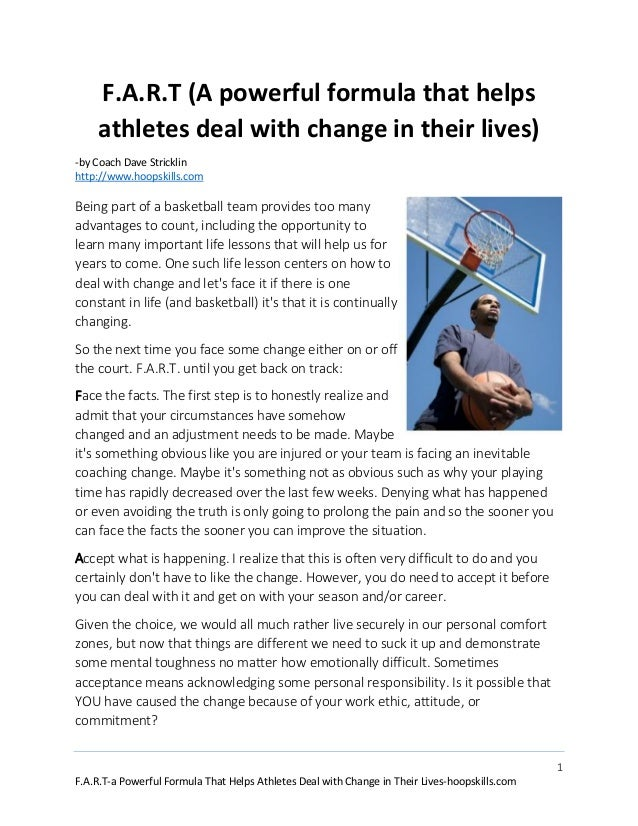 1 F.A.R.T-a Powerful Formula That Helps Athletes Deal with Change in Their Lives-hoopskills.com F.A.R.T (A powerful formul...