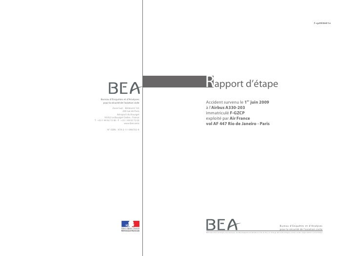 Rapport d'étape sur l'accident de l'Airbus A330 d'Air France (vol AF447) le 1er juin 2009