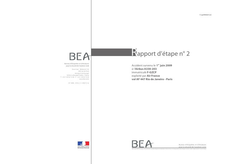Rapport d'étape n°2 sur l'accident de l'Airbus A330 d'Air France (vol AF447) le 1er juin 2009