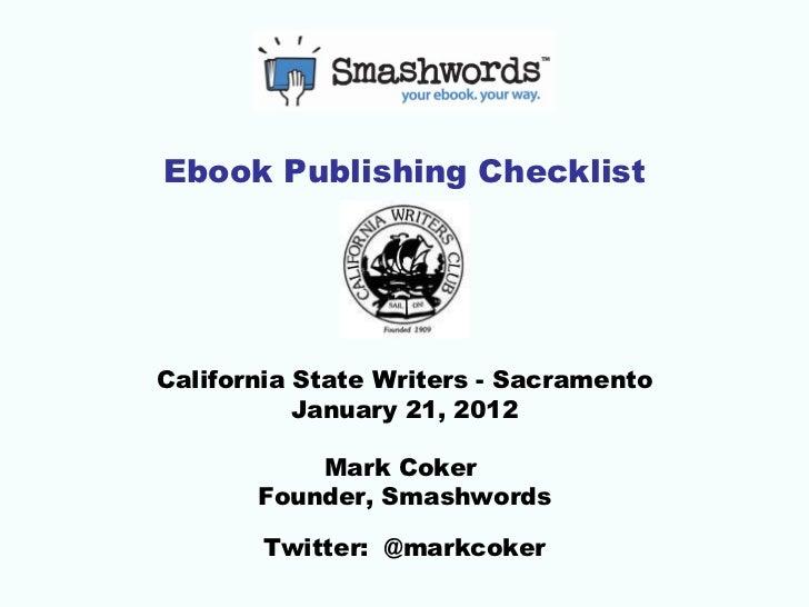 Ebook Publishing Checklist - California State Writers, Sacramento