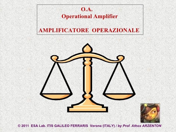 © 2011  ESA Lab. ITIS GALILEO FERRARIS  Verona (ITALY)  / by Prof. Athos ARZENTON  O.A.  Operational Amplifier AMPLIFICATO...