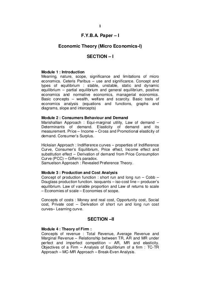 1                       F.Y.B.A. Paper – I         Economic Theory (Micro Economics-I)                          SECTION – ...