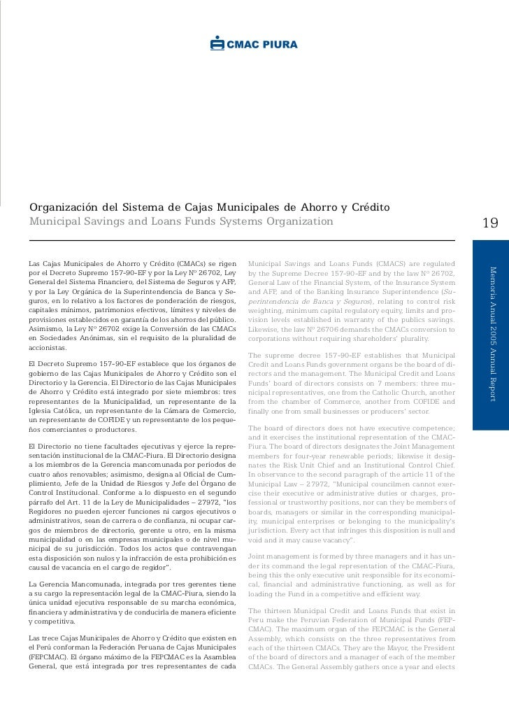 Organización del Sistema de Cajas Municipales de Ahorro y CréditoMunicipal Savings and Loans Funds Systems Organization   ...
