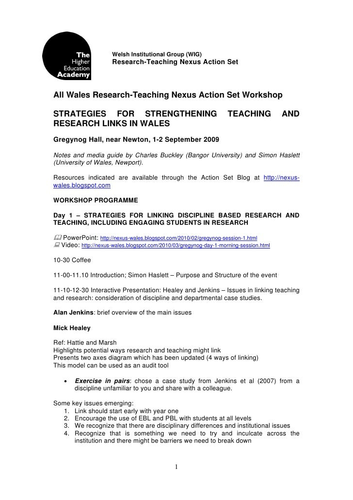 Notes from Gregynog HEA Research-Teaching Nexus Action Set Workshop (Sept 2009)