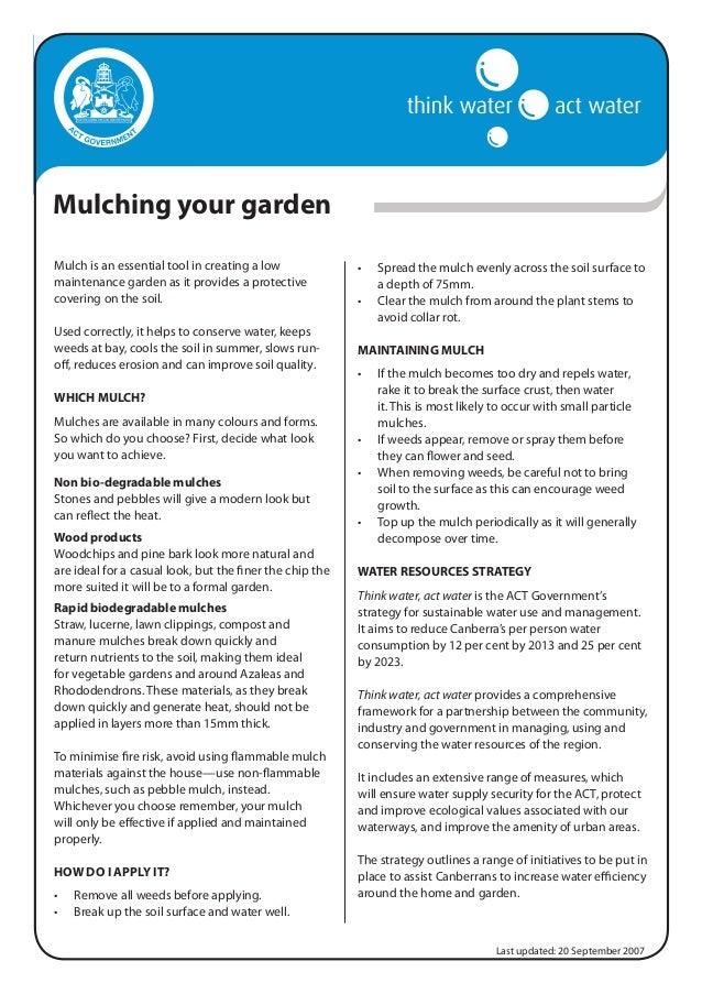 Mulching Your Garden - Think Water, Australia