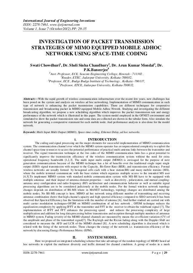 International Journal of Engineering InventionsISSN: 2278-7461, www.ijeijournal.comVolume 1, Issue 7 (October2012) PP: 29-...
