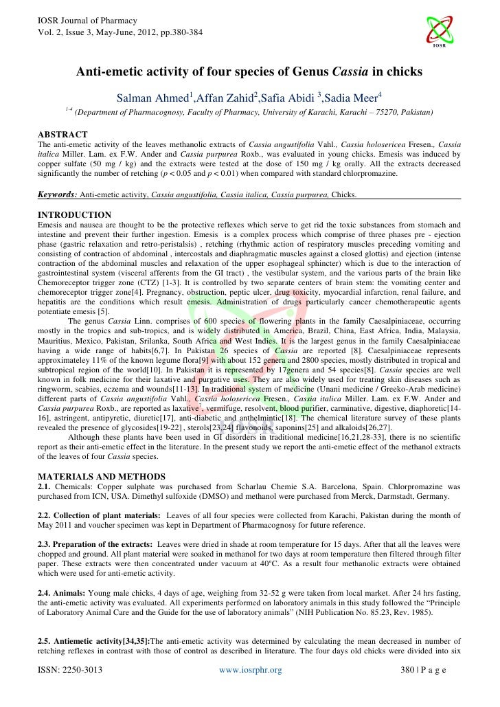 IOSR Journal of PharmacyVol. 2, Issue 3, May-June, 2012, pp.380-384              Anti-emetic activity of four species of G...